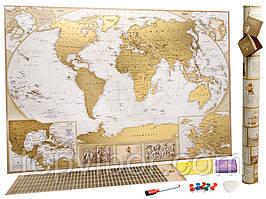 🔝 Скретч карта мира, My Map Antique edition, карта путешествий, ENG   🎁%🚚
