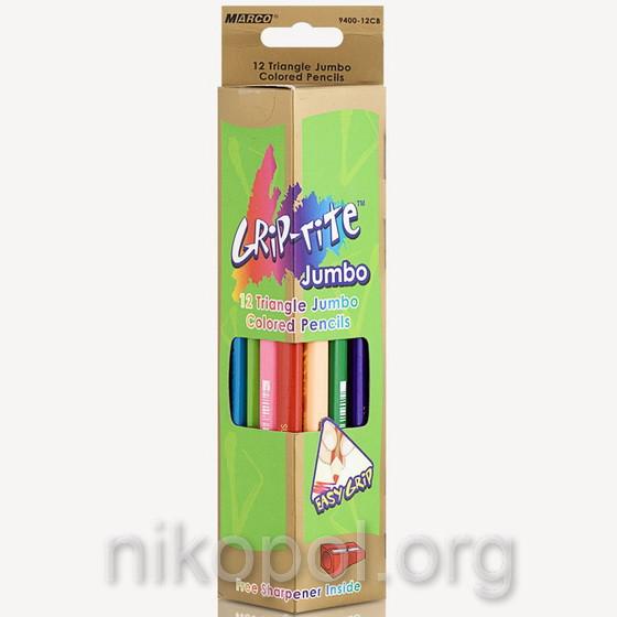 Набор толстых цветных карандашей MARCO Superb Writer 9400-12CB Jumbo, 12 цветов, трехгранные с точилкой