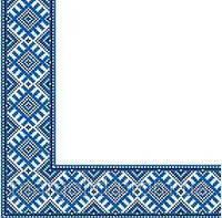 Салфетка Марго 33*33 2сл. Етно вышивка синяя 50шт/уп