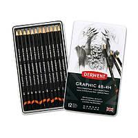 Набор графит.карандаш Graphic Designer Medium в мет.короб. 12шт.(ассорти от 6В до 4Н), Derwent