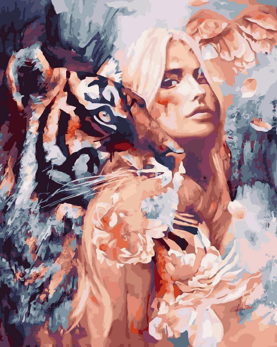 Картина по номерам Вместе с тигром BK-GX26907 Rainbow Art 40 х 50 см (без коробки)