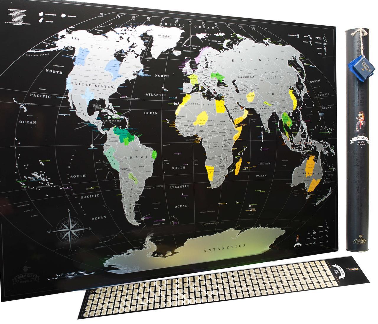 Распродажа! Скретч карта, My Map Black Edition, подарок для путешественников, Silver, ENG