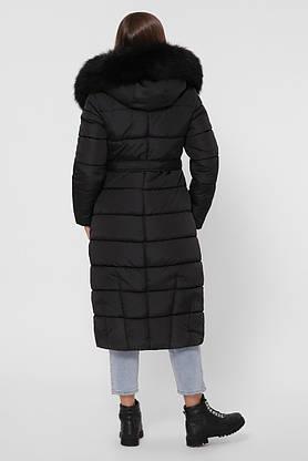 Зимний женский пуховик с мехом черный, фото 3