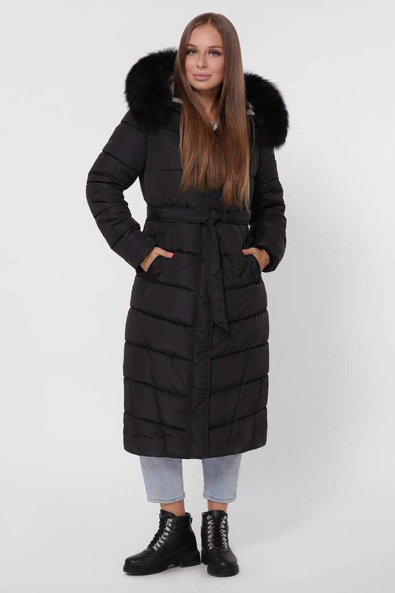 Зимний женский пуховик с мехом черный, фото 2