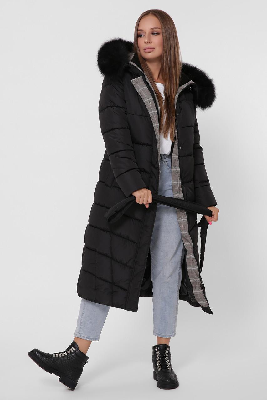Зимний женский пуховик с мехом черный