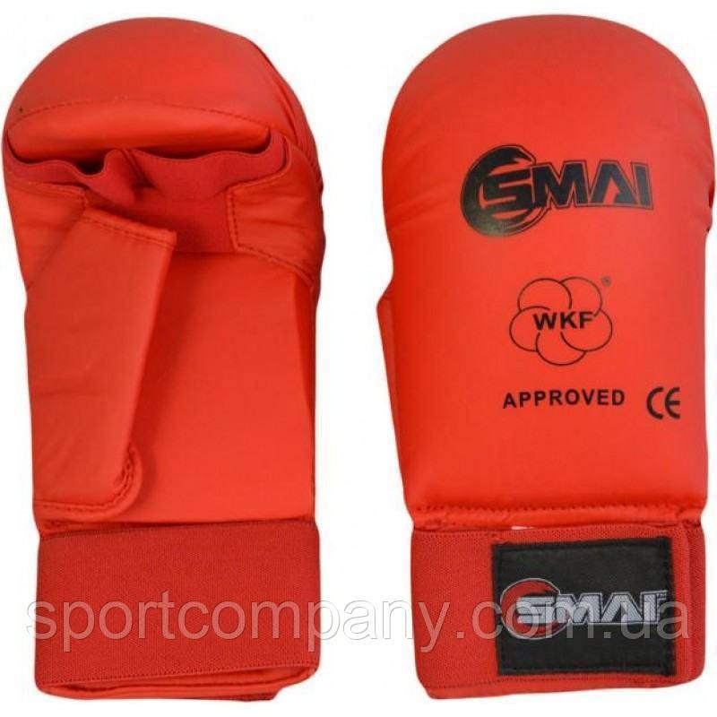 Перчатки для каратэ Smai WKF Approved с защитой большого пальца, красные