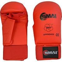 Перчатки для каратэ Smai WKF Approved с защитой большого пальца, красные, фото 1