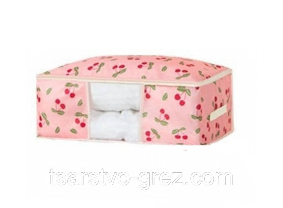 Кофр органайзер для постельного белья, одеял и одежды Розовый