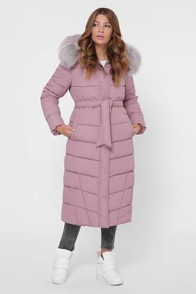Зимний женский пуховик с мехом розовый, фото 2