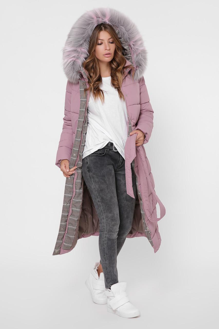 Зимний женский пуховик с мехом розовый