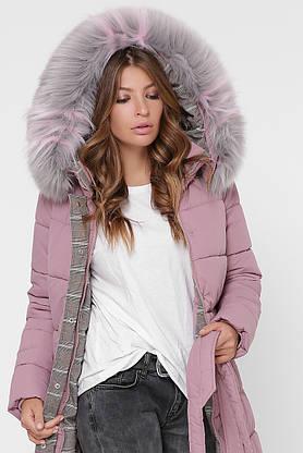 Зимний женский пуховик с мехом розовый, фото 3