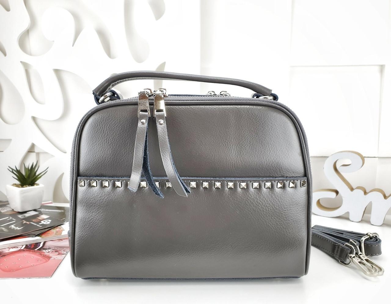 Женская сумка-клатч серого цвета, натуральная кожа