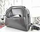 Женская сумка-клатч серого цвета, натуральная кожа, фото 3