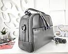 Женская сумка-клатч серого цвета, натуральная кожа, фото 8