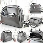 Женская сумка-клатч серого цвета, натуральная кожа, фото 2
