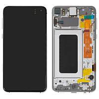 Дисплей для Samsung G970 Galaxy S10e, модуль в зборі (екран і сенсор), з рамкою, серебристый, #GH82-18852B