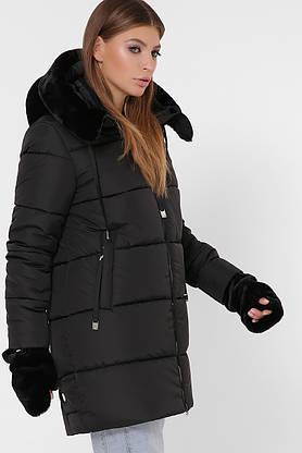Зимняя женская куртка-пуховик с мехом черная, фото 3