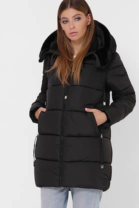 Зимняя женская куртка-пуховик с мехом черная, фото 2