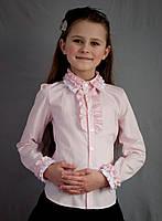 Нарядная школьная блуза с длинным рукавом для девочки.