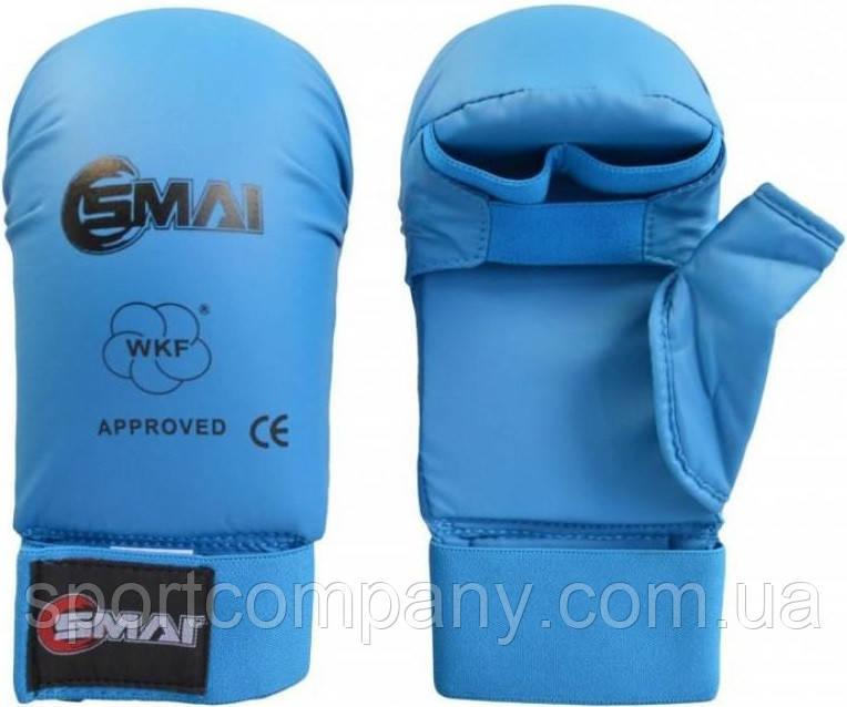 Перчатки для каратэ Smai WKF Approved с защитой большого пальца, синие