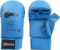 Перчатки для каратэ Smai WKF Approved с защитой большого пальца, синие, фото 1