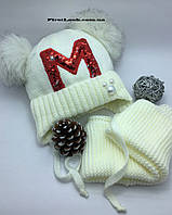 Детский зимний комплект шапка+снуд(хомут)  на девочку, фото 1