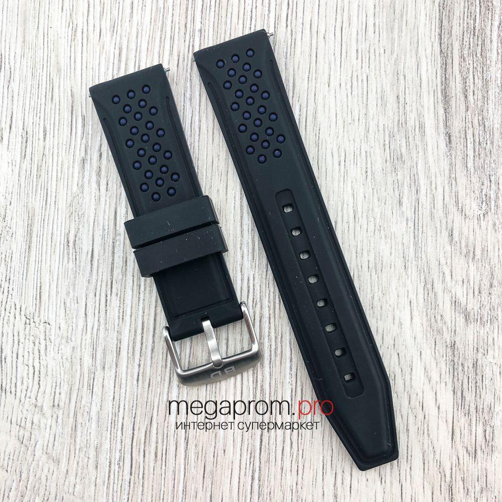 Каучуковый ремешок для часов Bros черный с синим 20 | 22 мм (08246)