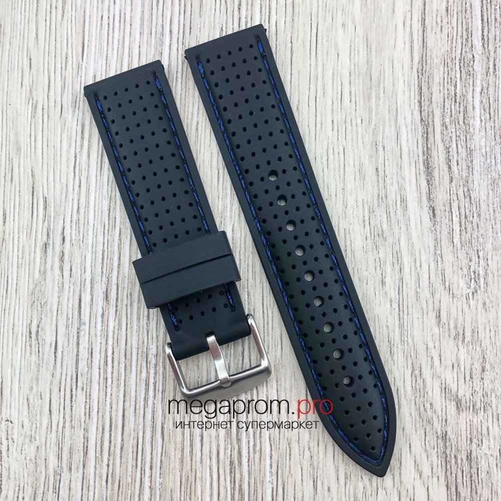 Каучуковый ремешок для часов Bros черный с синей ниткой 20 | 22 мм (08248)
