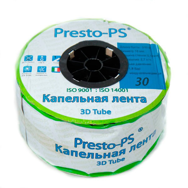 Лента Presto-PS эмиттерная 3D Tube | 30 см | 2.7 л/ч | 500 м