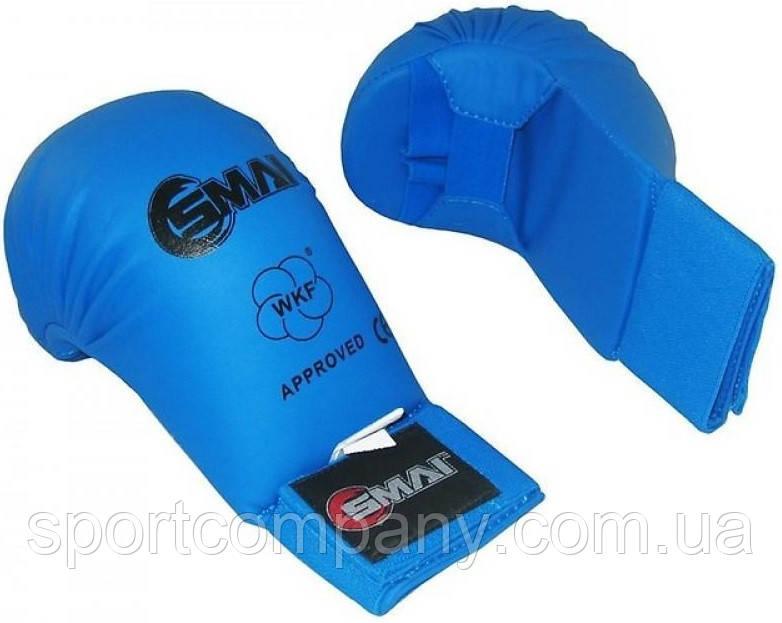 Перчатки для каратэ Smai WKF Approved без большого пальца, синие