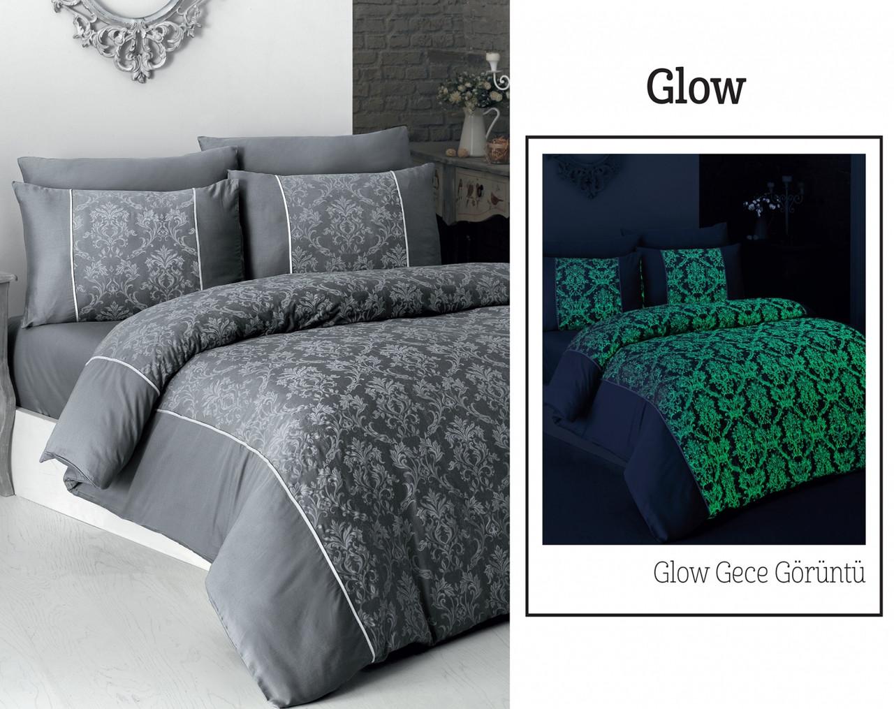 Постельное белье First Choice 200х220 V.I.P Moon light сатин Glow серый