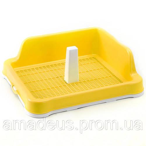 Туалет Под Пеленки Animall С Решеткой, Столбиком И Стеной, 56X43,5Х16 Cм