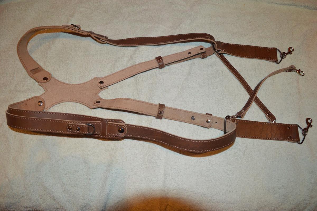 Разгрузка, портупея  для двух фотоаппаратов кожаная коричневый