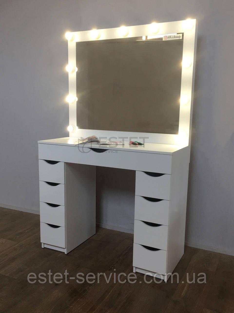 Гримерный стол для визажиста с перегородками в большом ящике М614-1