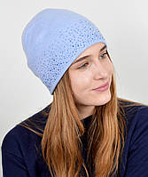 "Шапка с камнями ""Мери"" голубой, фото 1"