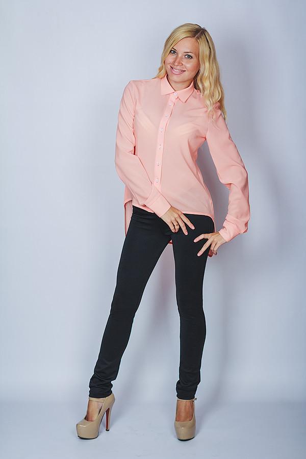 Блуза молодежная шифон персик