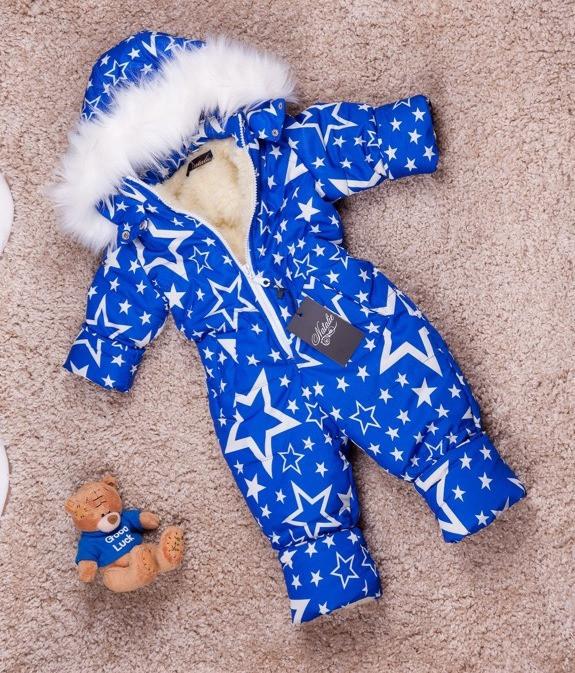 Слитный зимний комбинезон со звездами для мальчика 80-104 р