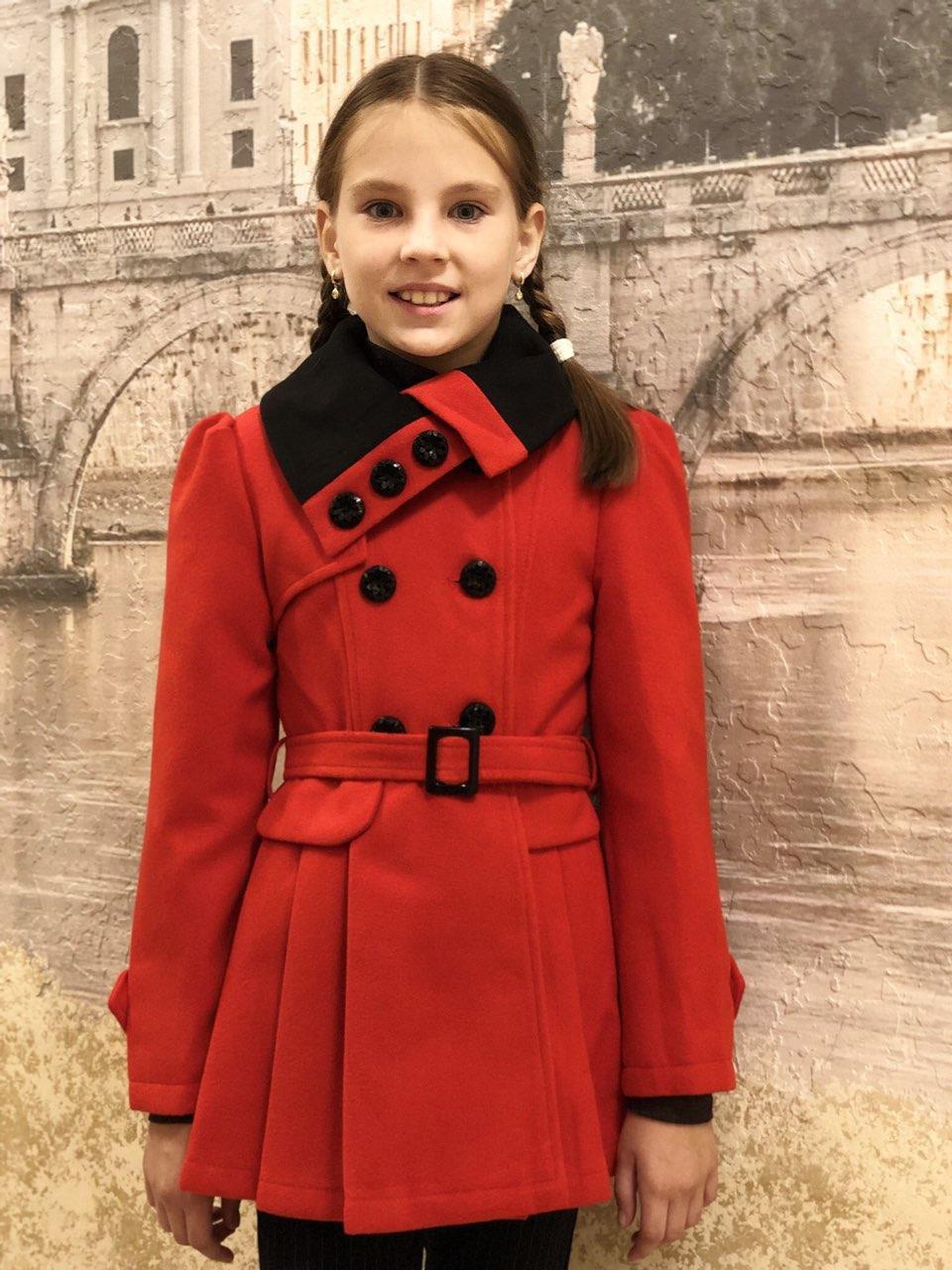 Кашемировое пальто Валентина (красное), 128-156 рост