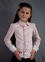 Нарядная белая школьная блуза с длинным рукавом и рюшами .
