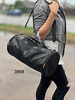 Небольшая дорожная сумка бочка реплика Philipp Plein эко-кожа черная