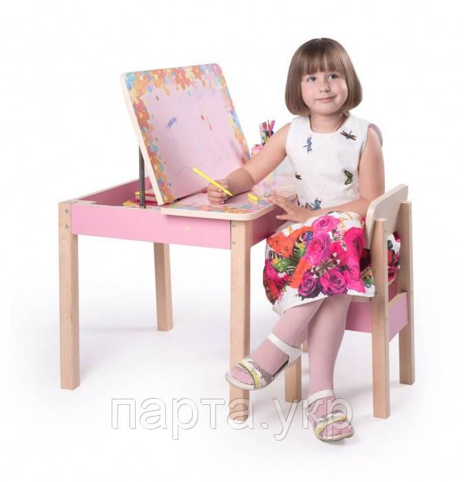 Детский столик и стульчик для рисования (розовый)