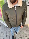 😜 Бомбер - Мужская куртка-бомбер весна/осень с меховым воротником цвет хаки, фото 4