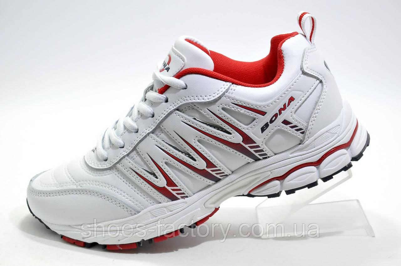 Белые женские кроссовки Bona, White\Red (Бона)