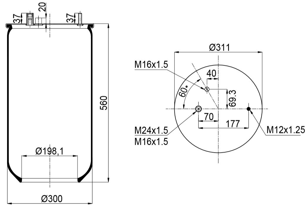 Пневмоподушка 901MB RVI Magnum, Premium задняя шпилька-2 воздуха