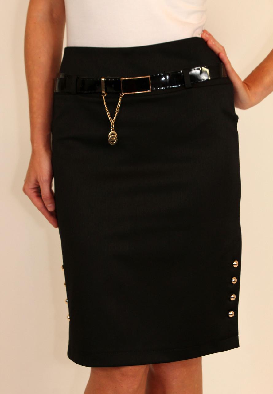 Женская юбка прямого кроя с пуговицами по бокам 42-48 р