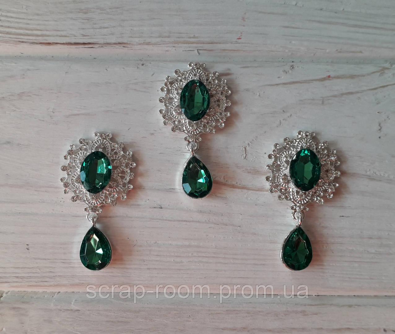 Брошь со стразами, брошь с зеленым камнем, брошь с подвеской, брошь свадебная, размер 25*45 мм, цена за шт