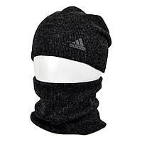 Комплект шапка+баф adidas SP1901 черный, фото 1