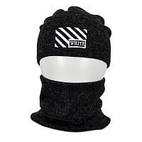 Комплект шапка+баф Off-White SP1902 черный, фото 1
