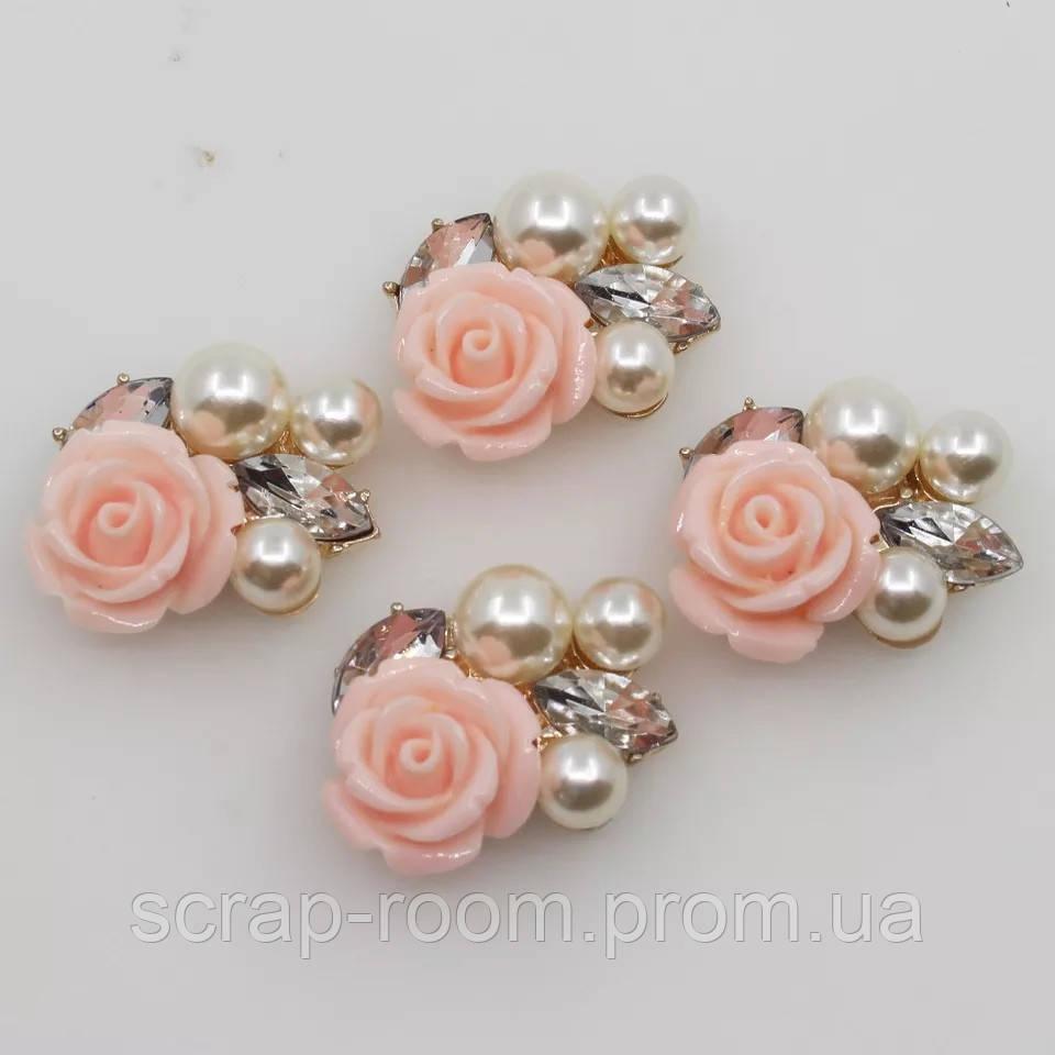 Брошь серединка, брошь с жемчугом и розой, брошь металлическая, серединка банта, размер 20*22 мм, цена за шт