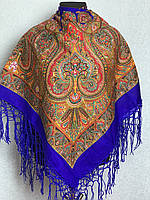 Синя хустка з народним орнаментом (120х120)
